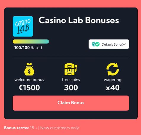 Casino lab step 1 - claim bonus