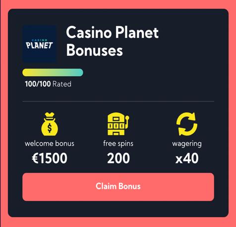 Casino planet step 1 - claim bonus