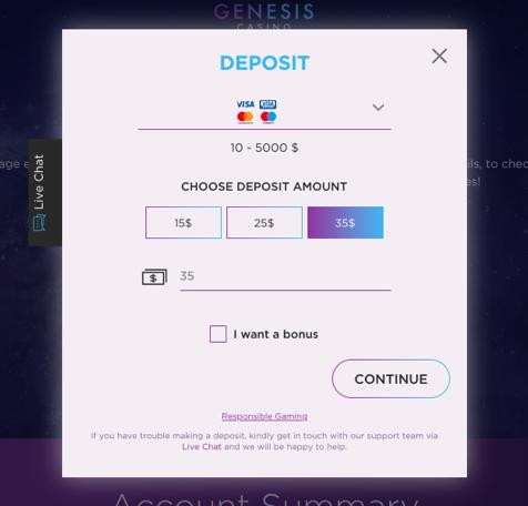 Deposit for cashback bonus