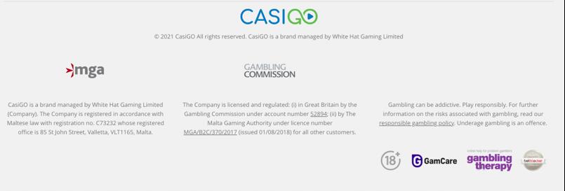 casigo casino safety and licenses